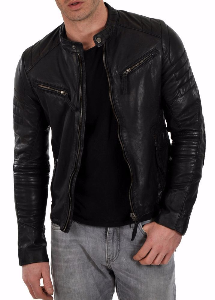 Mens Black Real Soft Leather BLOUSON 2 Cut Piece Vintage Classic MotorbyceJacket
