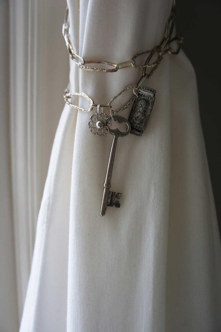 Curtain Hardware Tiebacks - Curtain tieback silver chain metal vintage jewelry shabby chic curtain tieback drapery holder etsy coupon