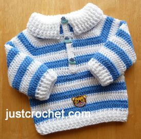 Collared Sweater Free Crochet Pattern by Just Crochet