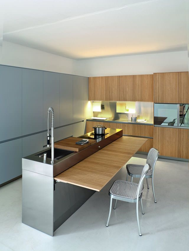 Slim Kitchen by Palomba Serafini for Elmar Cucine (the counter folds down)