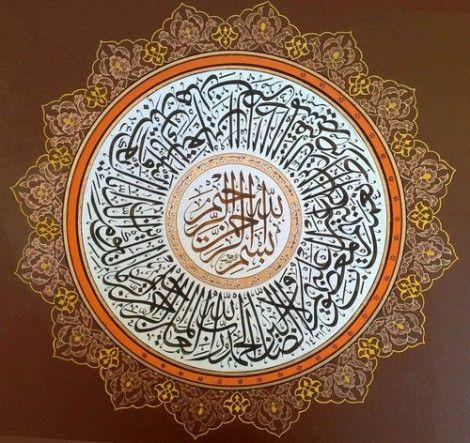 Circular Surat al-Fatihah Calligraphy (Quran 1:1-7) in Tezhib