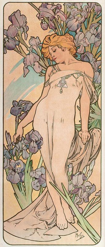 """""""Les Fleurs - les Iris"""" ~ Alphonse Mucha, 1898 a beleza da figura feminina, as cores, panejamento, floriado, ornamentos, peças de joelharia"""
