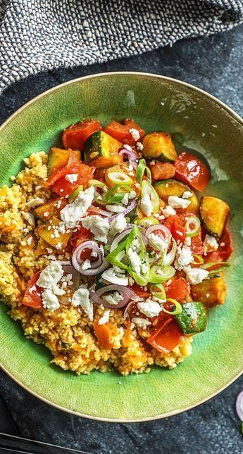 Bunte Couscous-Gemüse-Pfanne mit Paprika und Feta