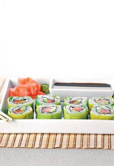 Sushi z awokado i łososia