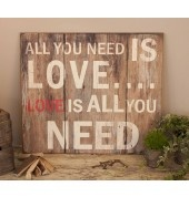 All You Need is Love Wooden Wall Art by Heart & Home Price:  £35.00  A stunning piece...All you need is love..... This fabulous All You Need Is Love wooden wall art is screen printed to give the appearance of distressed wood, but looks so authentic that you'd have to run your hands over it to realise. Dimensions: 69 x 61 x 1 cm