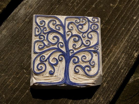 Hand-Carved Stamp: Box Tree on Etsy, $25.00