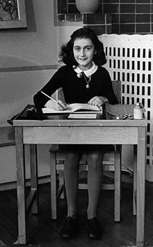 Annelies Marie Frank-- (12 June 1929 – February or March 1945[4]) was a German-born diarist and writer. One of the most discussed Jewish victims of the Holocaust, she gained fame posthumously following the publication of her diary, The Diary of a Young Girl (originally Het Achterhuis; English: The Secret Annex), which documents her life in hiding from 1942 to 1944,