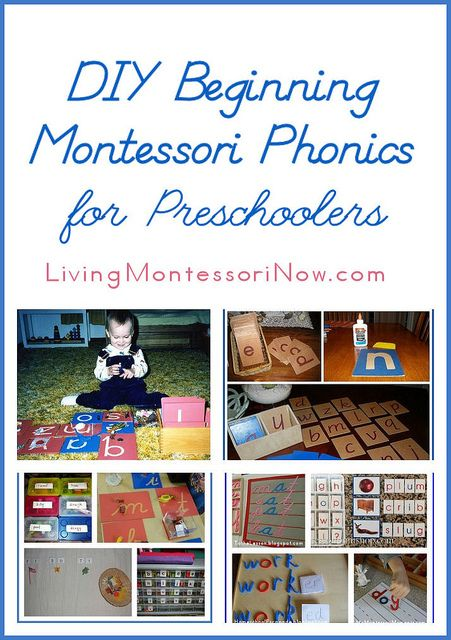 DIY Beginning Montessori Phonics for Preschoolers - ideas for inexpensive and DIY sandpaper letters, DIY alphabet box, and inexpensive and DIY movable alphabets. Includes links to Montessori-inspired unit studies with a variety of Montessori phonics activities along with the Montessori Monday collection.