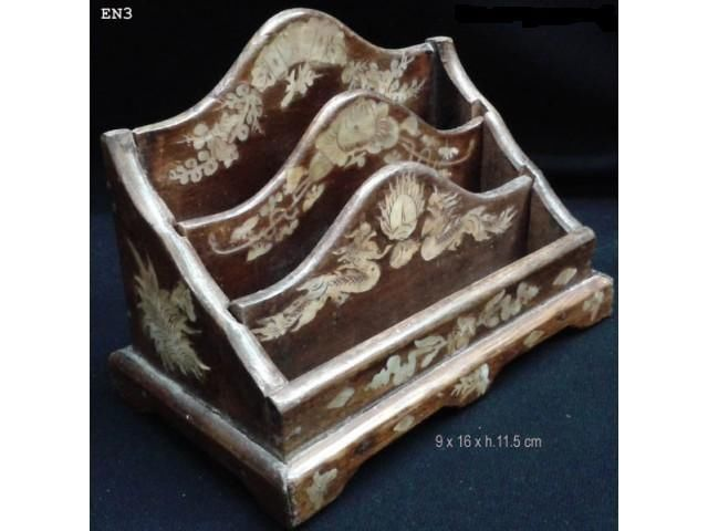 Rare Old Antique Dragon Box Letter Holder Document Mother of Pearl inlaid #2.