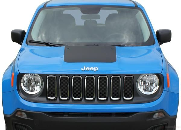 2014 2020 Jeep Renegade Factory Oem Trailhawk Style Hood Center Blackout Vinyl Decal Graphic 3m Striping Jeep Renegade Car Vinyl Graphics Jeep
