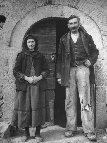 Greek Farmer and Wife Outside Home Premium Photographic Print