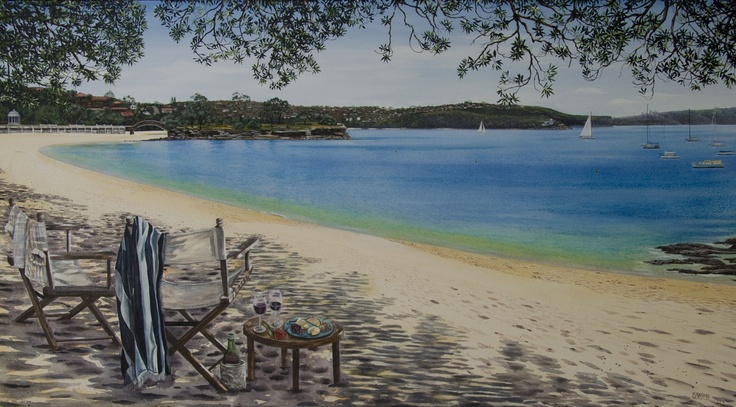 Stef's Balmoral: a commissioned painting of Balmoral Beach. A very romantic present for a fiancé -her favourite beach and Island. A setting for 2 with a bottle of wine in the shade. 101 x 183cm