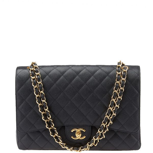 Pre-owned Chanel Maxi Classic Quilted Leather Flap Shoulder Bag ($6,670) ❤ liked on Polyvore featuring bags, handbags, shoulder bags, chanel, purses, bolsas, malas, black handbags, chanel handbags and flap bag