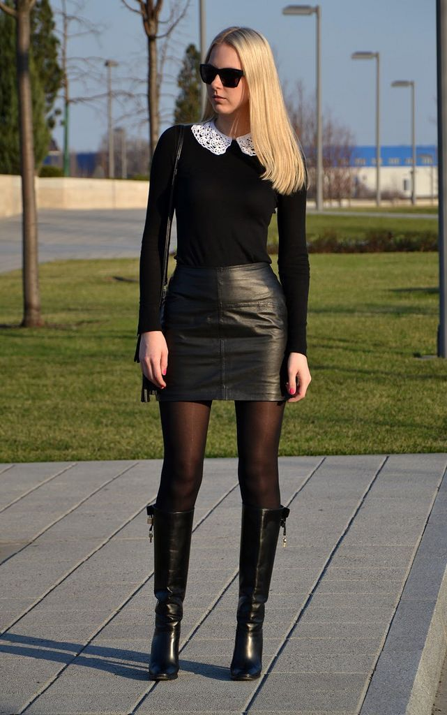 Leather skirt boots outfit