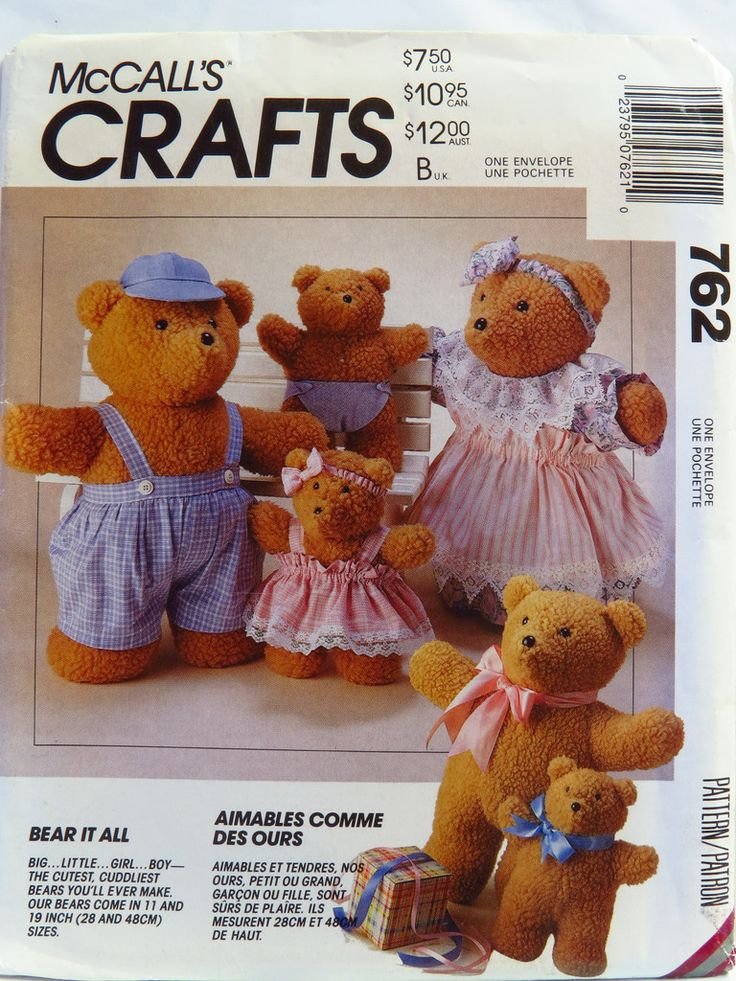 McCall's 0762 Bear Dolls and Clothes