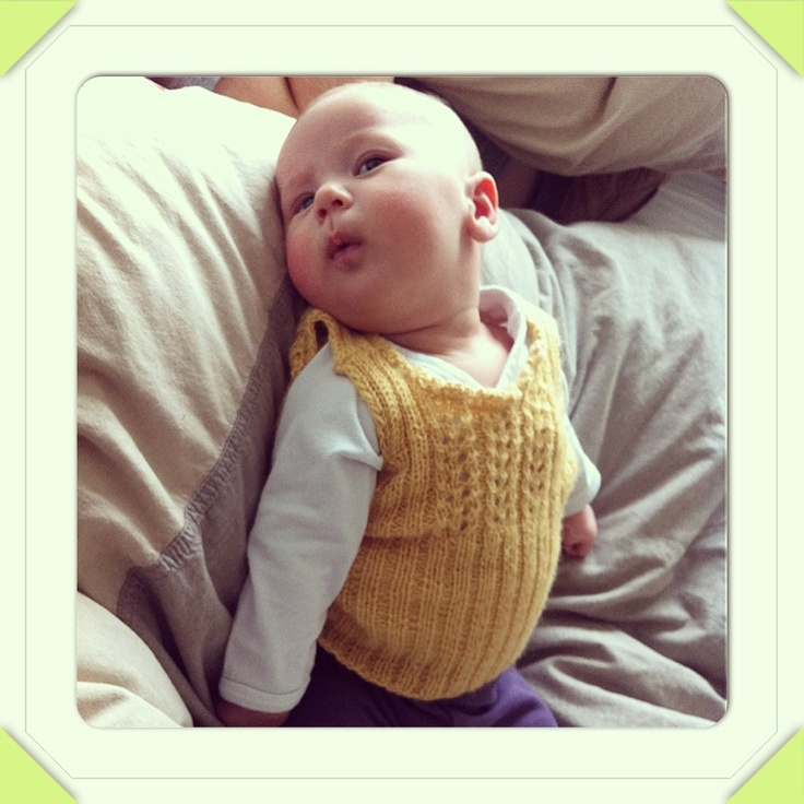 Baby Olivia in Alpaca vest I made for her before she was born. Pattern from Lene Holme Samsøe.