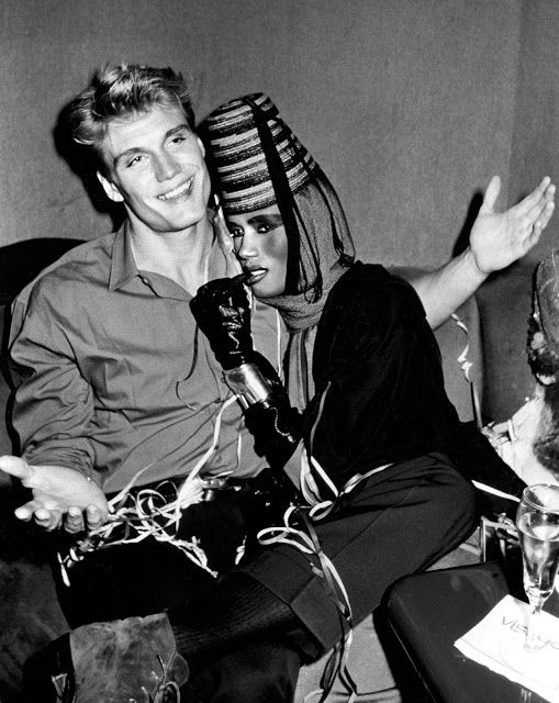 vintage everyday: From Chemical Engineer to Action Star - Pictures of Dolph Lundgren and His Girlfriend Grace Jones From the Early 1980s
