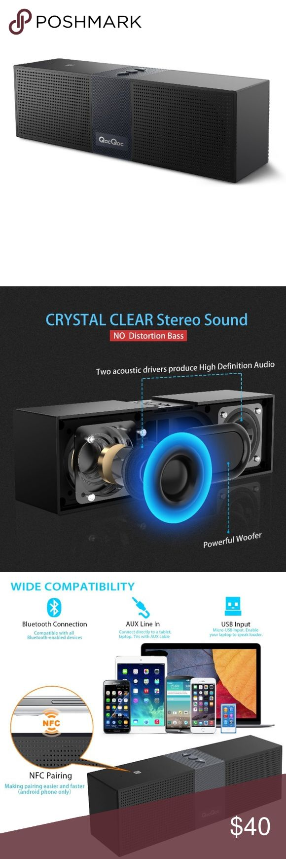 ??QacQoc Bluetooth Speakers Portable -CRYSTAL CLEAR STEREO SOUND - Two acoustic drivers produce a wide audio spectrum, with 3D surround effect. Newly designed passive radiator provides strong bass without distortion even at highest volume.  WIDE COMPATIBILITY - Suppports A2DP, compatible with all Bluetooth-enabled devices.AUX-in, connect directly to a tablet, laptop, TVs with AUX cable. NFC Pairing, making pairing easier and faster. Built-in Microphone, talk freely without reaching for your…