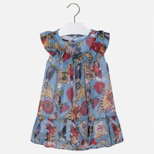 Fetița ta se va bucura 😍❤ de o rochie de vară cu un imprimeu simpatic, ce-i va oferi libertate de mișcare. O rochie cu volănașe pentru o fetiță cu stil!  Cod produs: 3970PV18ABS  #marabukids #mayoral #hainecopii