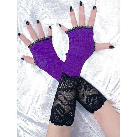 long fingerless mittens arm warmers in gothic by FashionForWomen. https://www.etsy.com/listing/209638659/long-fingerless-mittens-arm-warmers-in?ref=shop_home_active_14