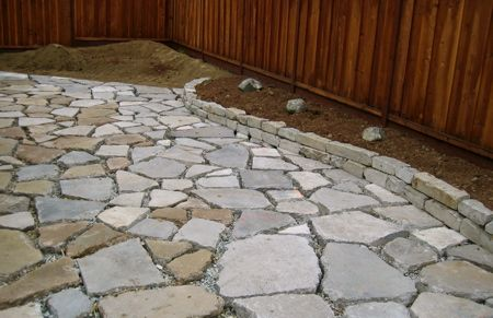 Recycling in the landscape – reused concrete, affectionately known as urbanite.