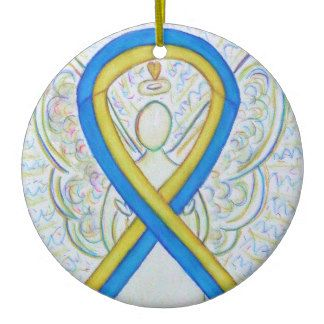 Blue and Yellow Awareness Ribbon Angel Ornament - The meaning of the yellow and blue awareness ribbon is support for Down's Syndrome.