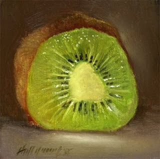 "Kiwi Slice 6""x6"" Oil on panel by Hall Groat II, Contemporary American artist"