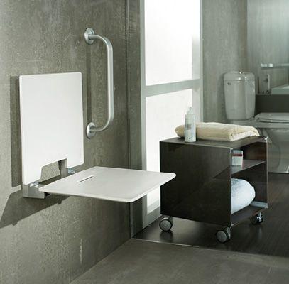 Asiento ducha con respaldo. para ser montado directamente a pared