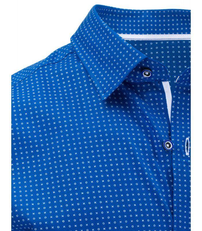 Modrá vzorovaná elegantná košela s krátkymi rukávmi