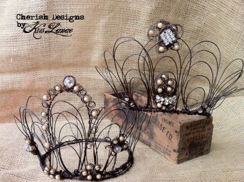 Black Wire crown with vintage elements by Kris Lanae. Perfect for brides at weddings, renaissance faires, or elaborate Halloween costumes as queens, fairies, or princesses.