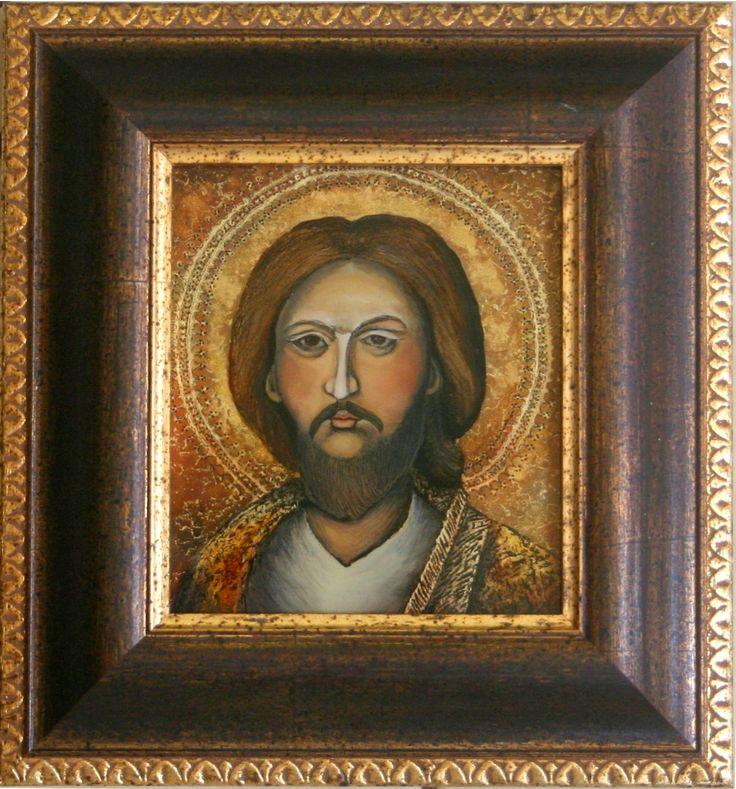 Chrystus  techn.malowane na szkle  Danuta Rożnowska-Borys