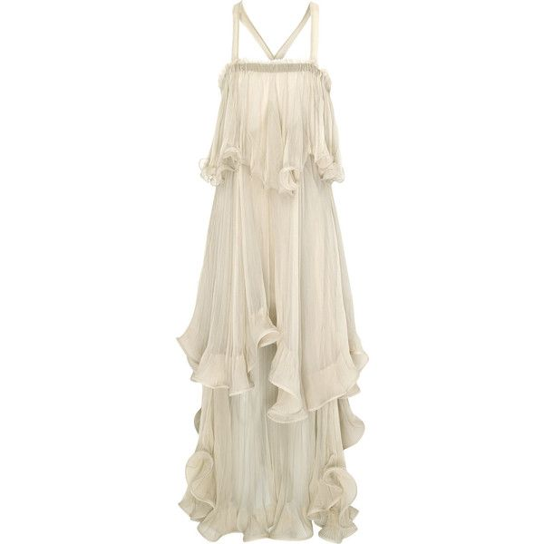 Chloé Silk-chiffon tiered ruffle dress ❤ liked on Polyvore featuring dresses, tiered dresses, slimming dresses, cross over dress, creme dresses and surplice dress
