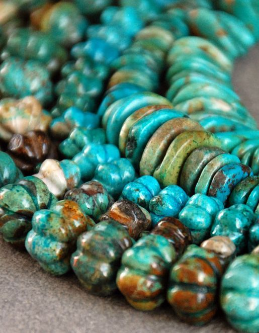 """Posted as """"Natural turquoise beads"""" these Chinese Turquoise are most likely stabilized with resin. As recent as the lat1 '90s most Chinese turquoise was wax treated.   Stabilization is a better process."""