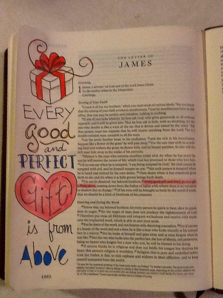 James 1:17. Sherrie Bronniman - Art Journaling: In My Bible