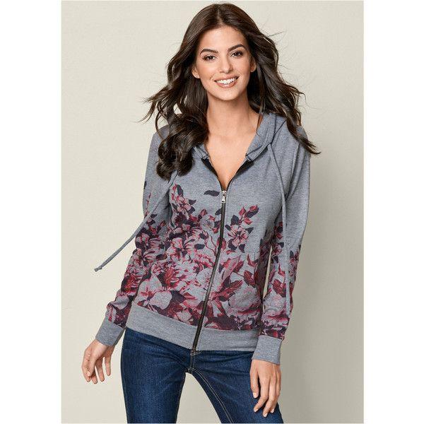Venus Women's Floral Zip Up Hoodie ($39) ❤ liked on Polyvore featuring tops, hoodies, grey, zip up hoodies, gray zip up hoodie, grey hoodies, hooded pullover and zip up hooded sweatshirt