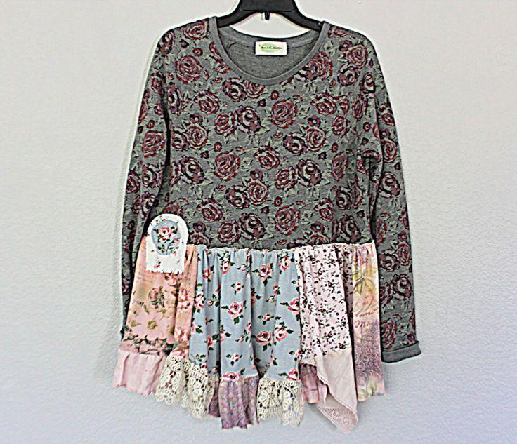Altered Shabby Sweatshirt / Women's Fashion Clothing / Sweet Boho Upcycled Top / Medium Large Ladies Clothes / Unique Funky Shirt by AmadiSloanDesigns on Etsy