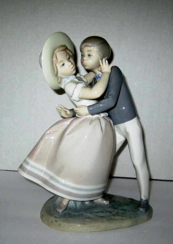 "LLADRO 4856 ""Precocious Love"" Retired Boy Kissing Girl No Box Dancing 10"" x 8.5"""