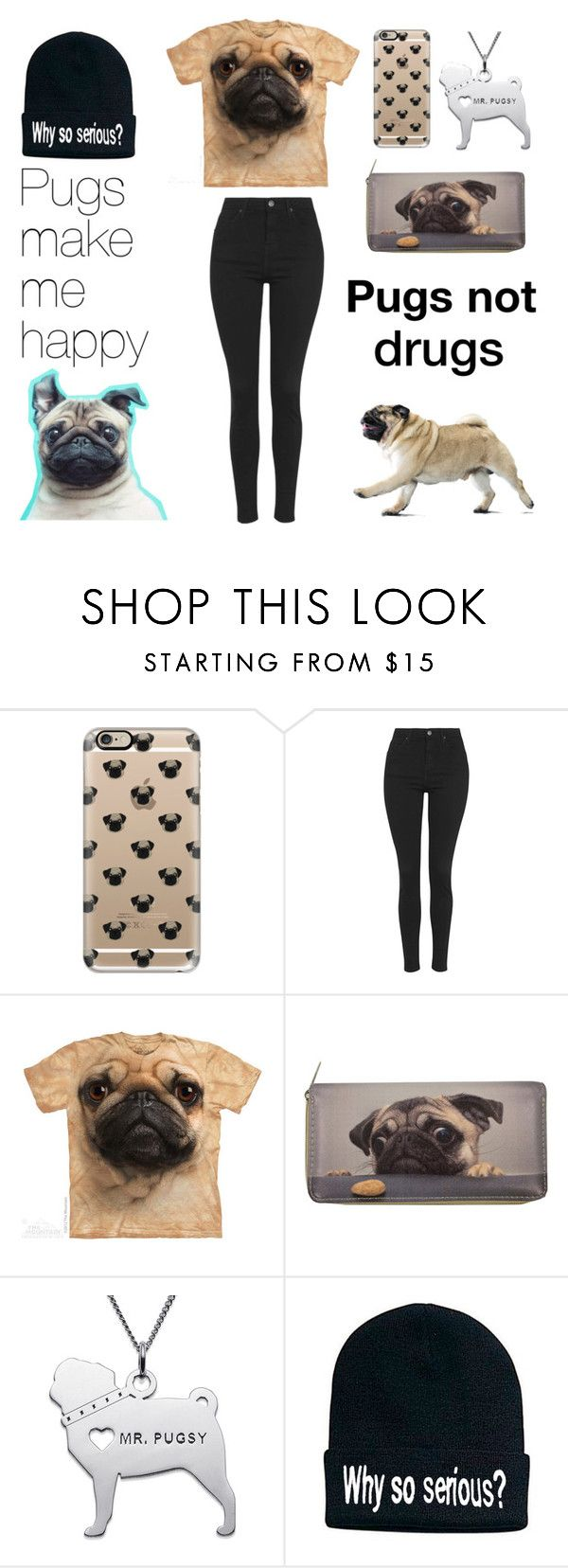 """Pugs make me happy"" by pink-flowergirl ❤ liked on Polyvore featuring Casetify and Topshop"