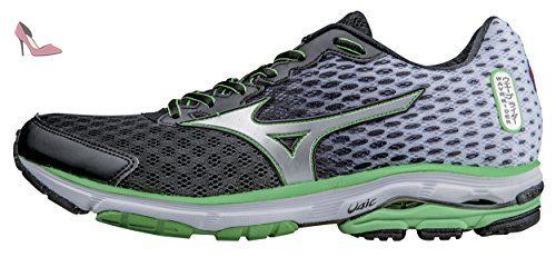 Mizuno Men's Wave Rider 18 Running Shoe,Black/Silver,10 D US, Black-Silver-Classic Green, 43 - Chaussures mizuno (*Partner-Link)