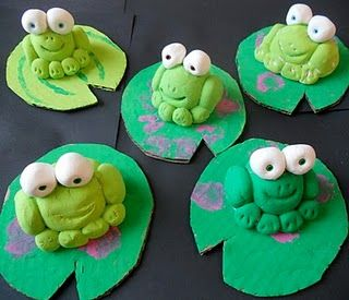 Clay frogs on cardboard--tie into Monet and make water lilies too.