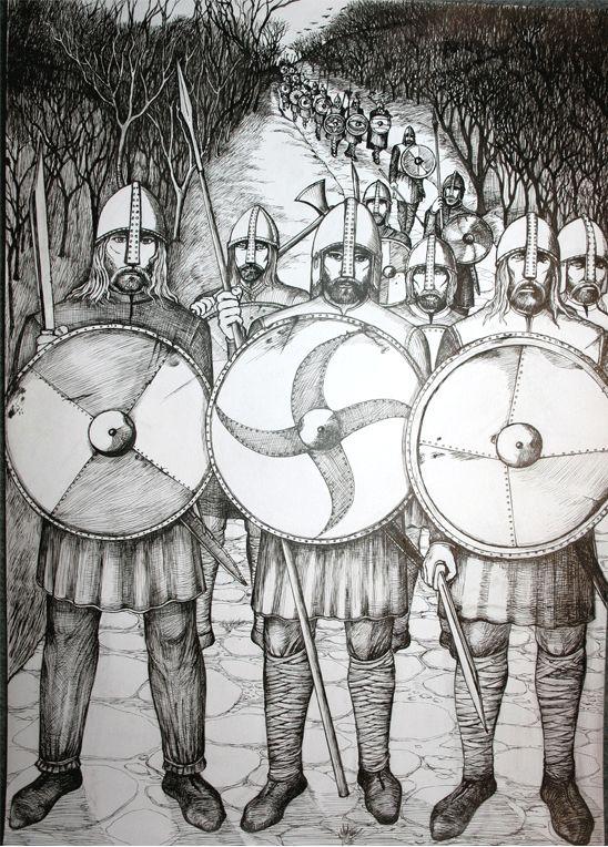 Saxon War Band moves along an old Roman road. Artist: Mark Taylor