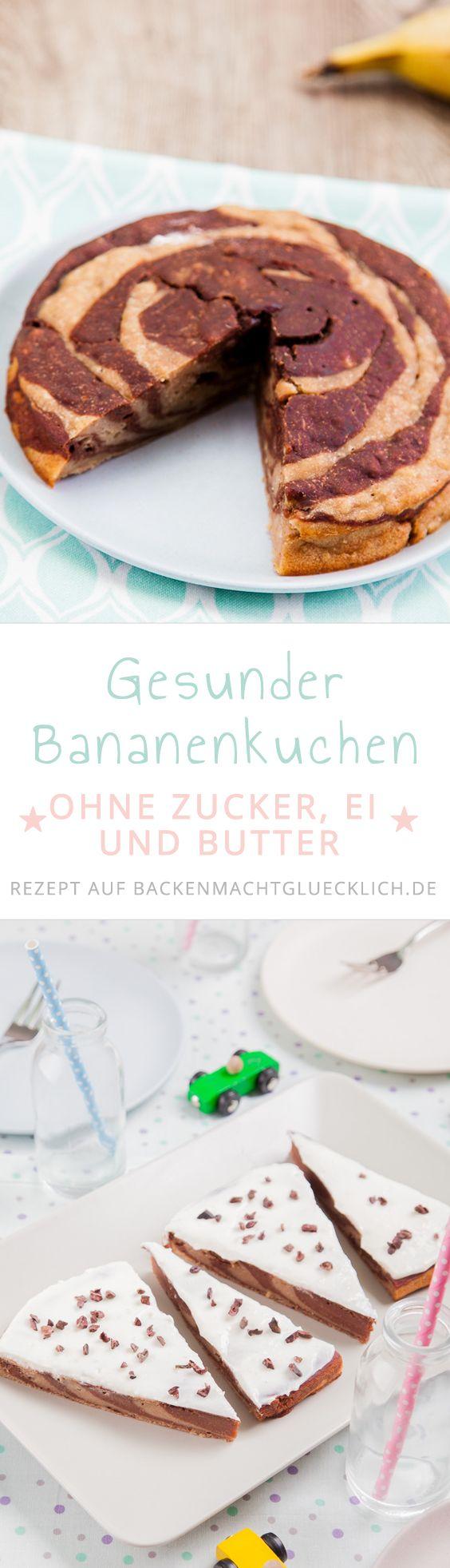 Rezept für leckeren veganen Bananenkuchen ohne Zucker, Butter und Ei. Eignet sich gut als Geburtstagskuchen für Babys und Kleinkinder.