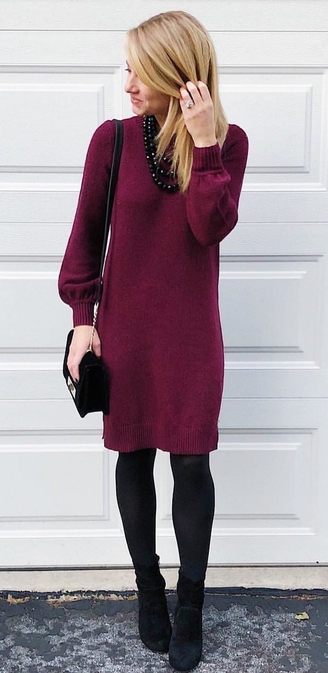 #winter #outfits maroon sweater. Click To Shop This Look.