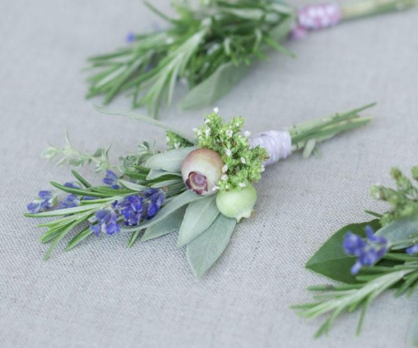 We used herbs in our wedding flowers, I had seen the idea in Martha Stewart and loved it.  These boutonniers are particularly beautiful for later in the season.