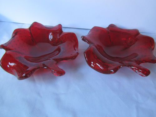 Vintage Murano Art Glass Pair Ruby Controlled Bubble Clover Bowls Retro Chic