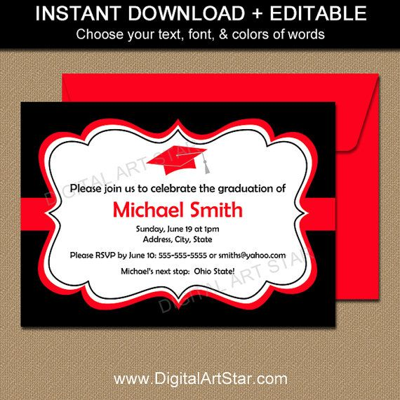 printable high school graduation announcement template instant download red black graduation party invitations class of 2019 sign g1 graduation party