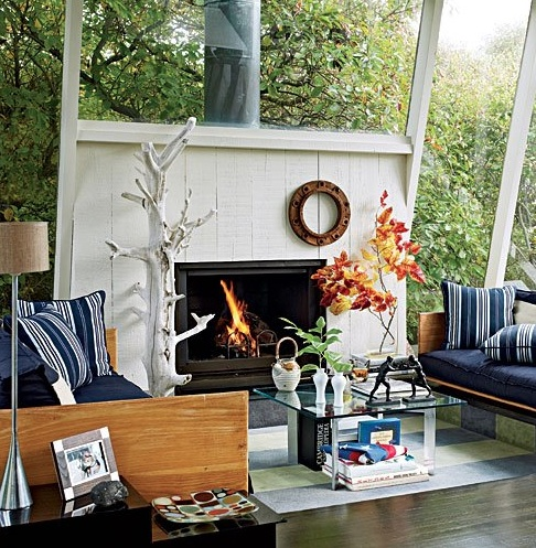 Perfect balance of fireplace and window magic -