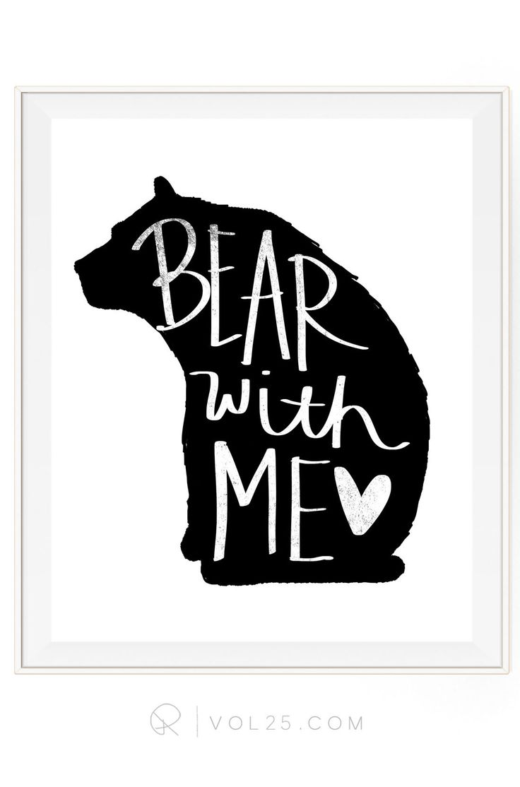Bear With Me Brush Script Textured Cotton Canvas Art