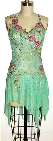 "Custom made Ice dance dress ""Amazing Spring"" by Zhanna Kens @ www.ZhannaKens.com"