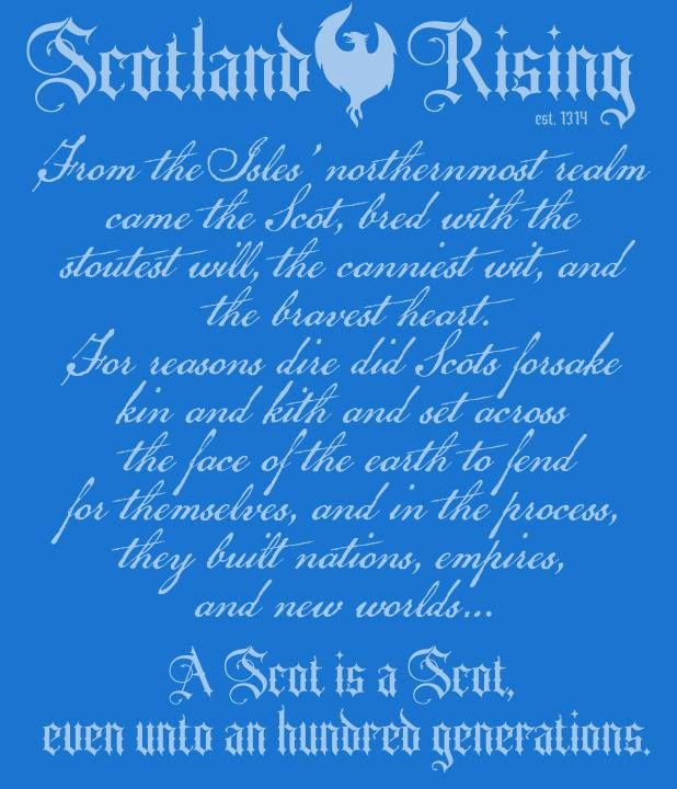 Well of all the countries I have family from I feel more Scottish. The poem seems to sum it up. Jeri